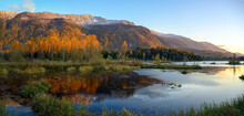 Autumn Sunset Panorama Format Photo Of Cheam Lake Wetlands Regional Park With The Mount Cheam In The Background, Rosedale,