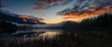 Winter Sunset Panorama Format Photo Of Cheam Lake Wetlands Regional Park With The Mount Cheam In The Background, Rosedale,