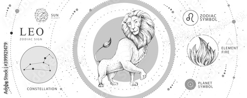 Fotografie, Obraz Modern magic witchcraft card with astrology Leo zodiac sign