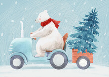 Beautiful Christmas Stock Illustration With Hand Drawn Watercolor Cute Polar Bear On Tractor And Fir Tree.