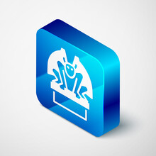Isometric Gargoyle On Pedestal Icon Isolated On Grey Background. Blue Square Button. Vector.