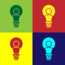 Pop Art Human Head With Lamp Bulb Icon Isolated On Color Background. Vector.