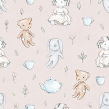Seamless Pattern With Varied Flowers, Cartoon Doll, Bear, Bunny And Dishes Isolated On Pink Paper Background. Watercolor Hand Drawn Illustration
