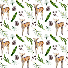 Watercolor Hand Painted Seamless Pattern With Baby Deer, Pine Cones And Coniferous Branches On White Background. Forest Pattern Is Prefect For Fabric, Wrapping Paper Or Scrapbooking.