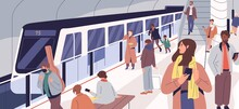 Subway Train Arriving At Metro Platform. Passengers Standing And Sitting In Modern Metro Station. Male And Female Characters Using Urban Public Transport. Daily City Life. Flat Vector Illustration