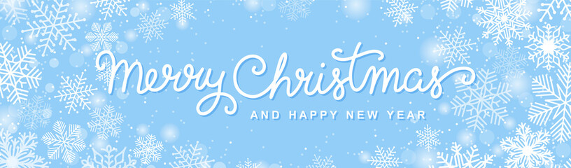 Christmas horizontal banner with hand drawn lettering, snowflakes and snow. Merry Christmas script calligraphy. White on a blue background. Winter holiday vector design.