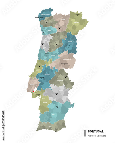 Obraz na plátně Portugal higt detailed map with subdivisions