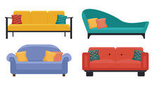 Set Of Different Sofas In Four Colors - Yellow, Gree, Blue And Red. Isolated On White. Flat Style, Design Template.
