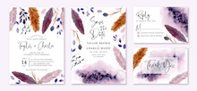 Wedding Invitation Set With Rustic Purple Feather And Leaves Watercolor