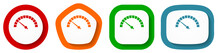 Speed Meter Vector Icon Set, Fast Indicator Flat Design Buttons On White Background