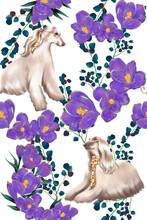 Afghan Hound. Dog With A Long Hair. Fashion Illustration Beautiful Dog. Floral Textile Pattern.