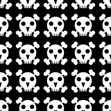 Skull And Crossbones. Seamless Pattern On Black  Background. Black And White Vector Isolated Illustration.