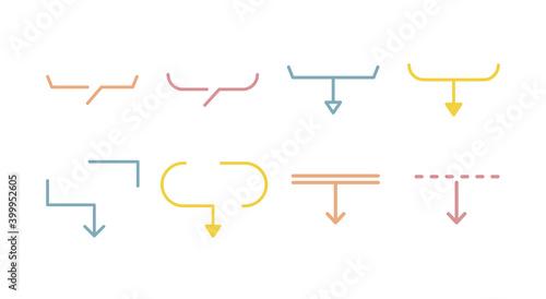 Obraz 吹き出しのセット/シンプル/矢印/注目/ポイント/見出し/飾り/あしらい/おしゃれ - fototapety do salonu