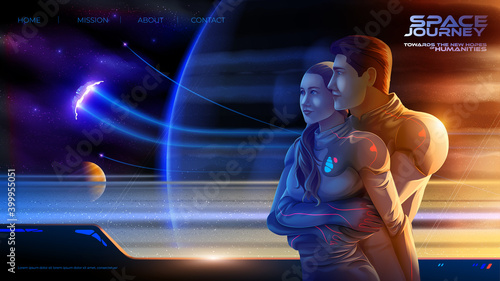Fotografie, Obraz embracing couple inside the colony spaceship on the long journey to the new worl
