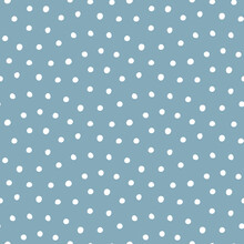 Vector Seamless Polka-dot Pattern On Blue Background.