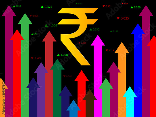 Fényképezés The growth of the Indian Rupee, strengthening of the value of the monetary unit