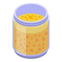 Figs Jam Jar Icon. Isometric Of Figs Jam Jar Vector Icon For Web Design Isolated On White Background