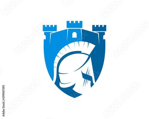 Shield fortress with spartan helmet inside Fototapet