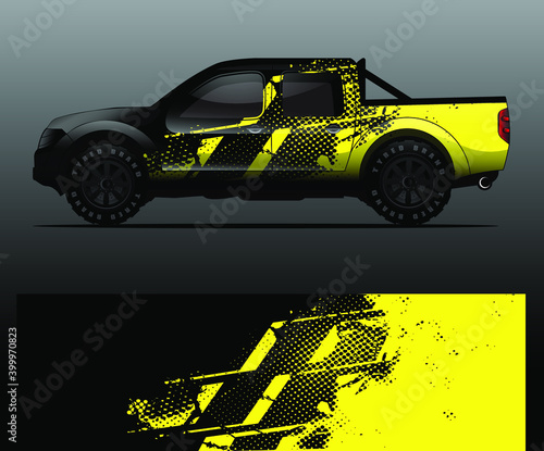Tela Truck decal graphic wrap vector, abstract background