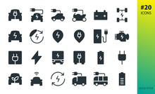 Electric Car Solid Vector Icon. Set Of E Car, Electric Bus, Truck, Vehicle, Auto, Charge Station Parking, Engine, Plug, Battery, Eco Transport, Autopilot, Smart Car Glyphs Icon