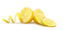 Halves Of Lemons With Slices And Peels On A White Background. Vector Illustration