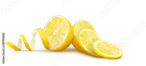 Canvas Halves of lemons with slices and peels on a white background