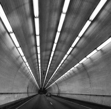 Driving In Tunnel In Monochrome