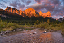 Sunrise And Alpenglow On Mount Lawrence Grassi And Ha Ling Peak In Autumn, Canmore, Alberta, Canadian Rockies, Canada