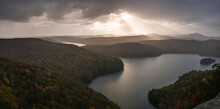 Sunset View Of Nichols Pond From The Nichols Ledge, In The Fall Season, Vermont, New England