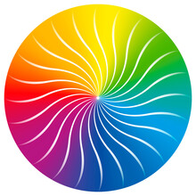 Rainbow Colored Circle With Concentric Wave Pattern. Color Gradient Twisted Disc Shaped Vector Illustration.