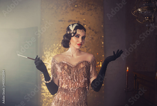 Canvas-taulu portrait of retro flapper beauty fashion model