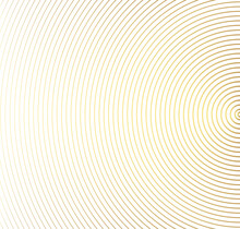 Abstract Gold Color Circle Vector Background. Modern Graphic Template. Circles Going To The Center. Monochrome Graphic.