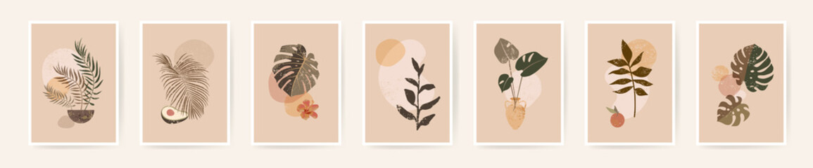 Boho aesthetic abstract botanical wall art poster prints. Scandinavian design, neutral natural colors. Bohemian collage wall prints. Mid Century Modern design. Plant fruit posters. Vector illustration
