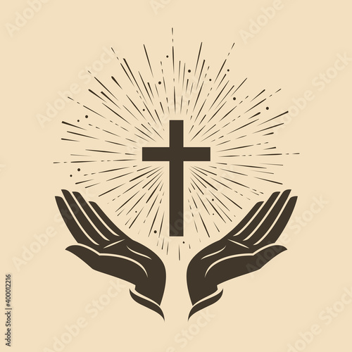 Slika na platnu Glowing cross with hands symbol. Church logo vector