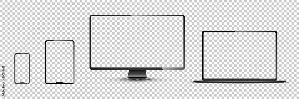 Fototapeta Realistic set of monitor, laptop, tablet, smartphone - Stock . Vector illustration
