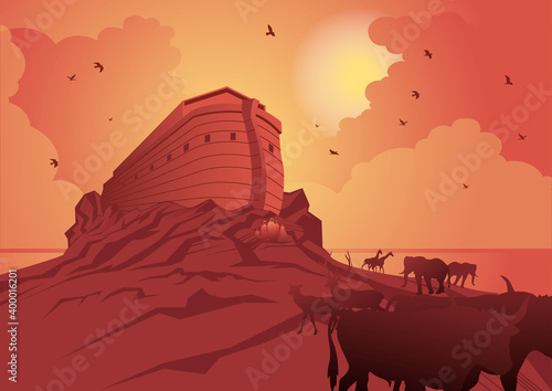 Obraz na plátně Noah's ark and the great flood