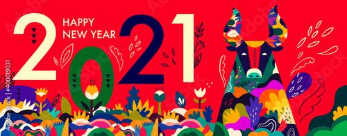 Obraz Happy New Year 2021 concept design - fototapety do salonu