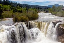 Thunder Water Over Te Falls In Early Spring. Lundbeck Falls PRA, Alberta, Canada