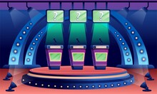 Quiz Game Stage Interior Design Background. Competition With Questions. Television Trivia Show Vector Illustration. Three Stands With Microphones In Spotlight, Screens With Questions