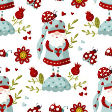 Seamless Gnome Vector Pattern With Flower And Ladybug. Cute Valentines Hand Drawn Little Gnomes Illustration. Kid Ornate Cartoon Holiday Scandinavian Background.