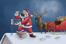 Santa Claus Wearing A Face Mask And Disinfecting His Hands On A Roof With Rudolf The Reindeer And His Sleigh Before Going Down The Chimney
