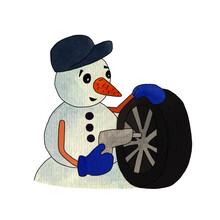 Watercolor Illustration Of A Snowman Changes The Car Tire