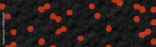 Abstract hexagons black on a red background Tapéta, Fotótapéta