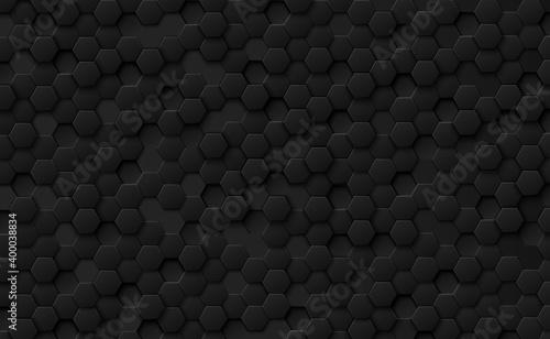 Fototapeta Abstract hexagons black on a black and gray background obraz