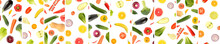Panoramic Skinned From Whole And Cut Vegetables And Fruits Separated By Vertical Lines Isolated On White