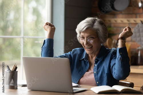Fotomural Overjoyed happy middle aged 60s mature woman in eyeglasses looking at laptop screen, reading email with amazing news, celebrating online lottery win, getting bank loan approval or money refund