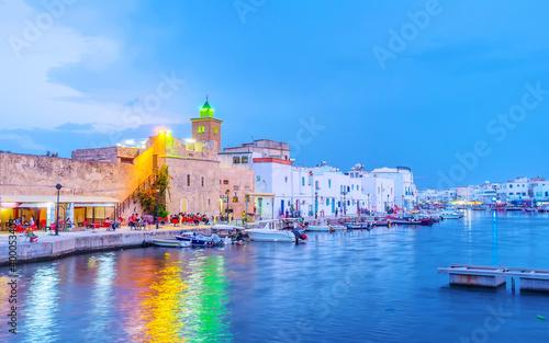The colorful illumination of evening Bizerte, Tunisia Wallpaper Mural