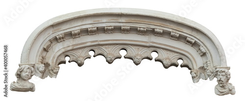 Tela Elements of architectural decoration of buildings, arches and colonnades, columns and capitals, patterns and stucco molding