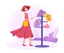 Female Character Trying On Hats In Hat Shop. Modern Hats Store Interior. Elegant Male And Female Summer Sun Hats And Caps, Baseball And Panama. Flat Cartoon Vector Illustration
