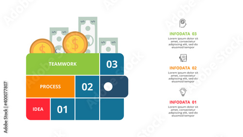 Photo Creative concept for infographic with 3 steps, options, parts or processes